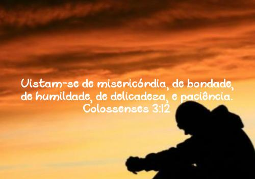 Vistam-se de misericórdia, de bondade, de humildade, de delicadeza, e paciência. Colossenses 3:12